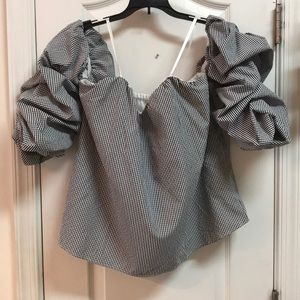 Black & White checked Off the Shoulder Top size L